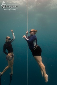 Freediving with my instructor